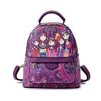 Рюкзак женский городской из эко кожи мультяшный (фиолетовый)