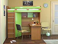 """Кровать чердак с мобильным столом и угловым шкафом """"Индиго"""""""
