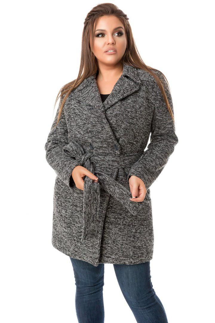 """Женское кашемировое пальто с поясом на запах """"Баунти""""  БАТАЛ, фото 1"""