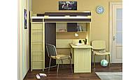 """Детская кровать чердак с письменным столом, шкафом, полками, тумбой   """"Индиго"""""""