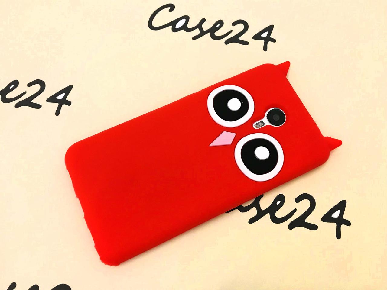 Резиновый 3D чехол для Meizu M3 Note Усики Сова красный