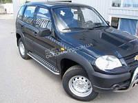 Пороги лист для Chevrolet Нива 2008+ площадка из нержавейки с алюминиевым листом D42