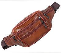 Кожаная сумка на пояс барсетка поясная рыжая