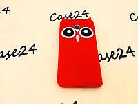 Резиновый 3D чехол для Meizu M5S Усики Сова красный