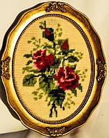 Шикарная картина,вышивка! Гобелен! Цветы! Розы! GERMANY!