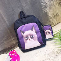 Стильный черный рюкзак с чехлом Сердитый кот