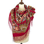 Магия чувств 1629-5, павлопосадский платок шерстяной (двуниточная шерсть) с шелковой вязаной  бахромой, фото 3