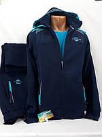 Тёплый натуральный спортивный костюм SOCCER, Турция, темно-синий.
