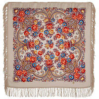 Чаровница 1696-2, павлопосадский платок шерстяной с шерстяной бахромой   Первый сорт    СКИДКА!!!