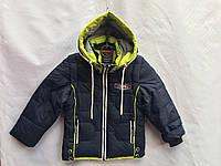 Демисезонная детская куртка-жилетка темно синего цвета с салатовым капюшоном для мальчика от 3 до 7 лет, фото 1
