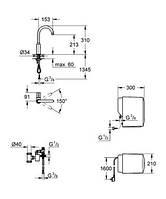 30085000 Grohe Red Mono Вертикальный вентиль и бойлер single (4 литра), хром, фильтр 40438000 отдельно