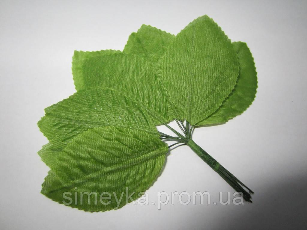 Уценка!!! Листик розы (зелёный 6 шт + белый 1 шт) 6*4 см на проволоке, упаковка - 7 шт. Ост. 1 уп.