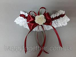 Свадебная подвязка Роза белая