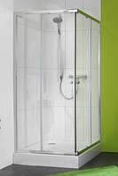 620101 X0 Душевая кабина 80*80 см, раздвижная дверь, вход с угла, Н=1,85 м, профиль хром глянцевый, стекло про