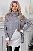 """Комбинированный женский свитер-туника """"Dios"""" с шелковыми вставками"""