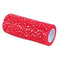 Фатин с голографическими блестками. Красный, ширина 15см.