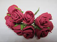 Роза бордовая, букетик из 11 цветков, диаметр розы 15-20 мм, длина проволоки 7 см, фото 1