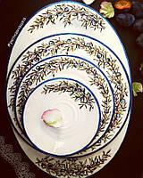 """Изысканный фарфоровый набор посуды с ручной росписью """"Можжевельник"""""""