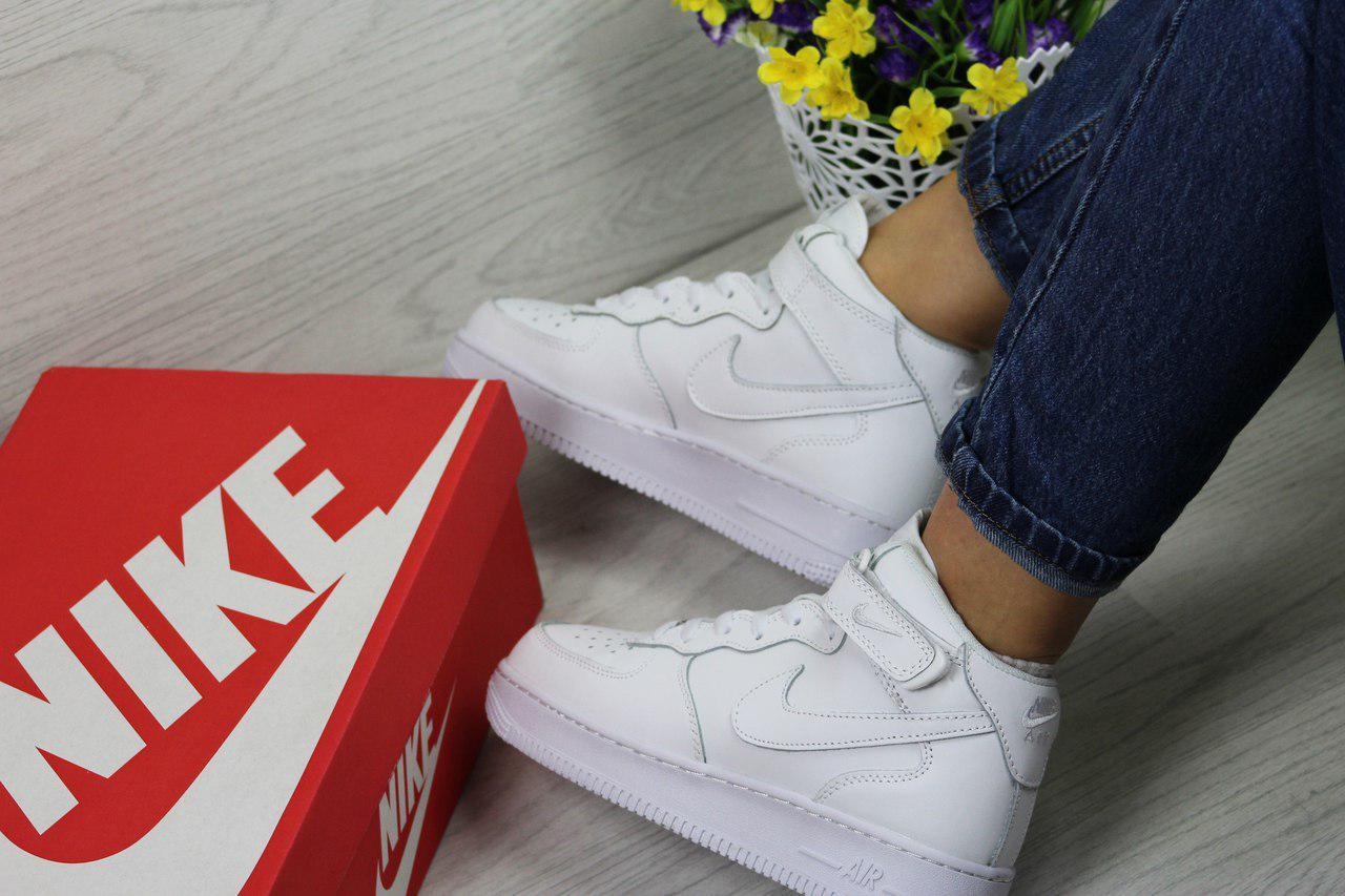bb16abbd Белые высокие кроссовки Nike Air Force, женские (Реплика) - Интернет-магазин