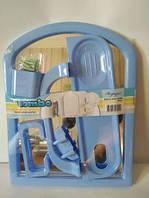 Набор в ванную с зеркалом Tombo 6-предметов (голубой)
