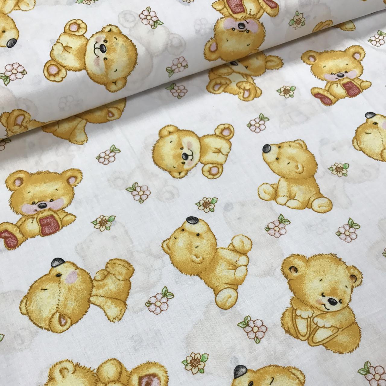 Хлопковая ткань польская мишки бежевые №202
