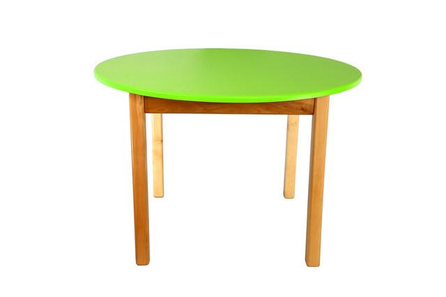 Детский деревянный стол, салатовый c круглой столешницой