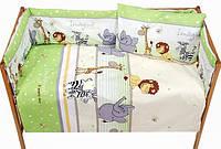 Защита бампер в детскую кроватку из 2 частей Африка зеленый