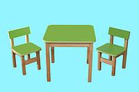 Эко набор Детский Стол деревянный салатовый и 2 стульчика