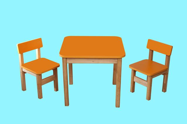 Эко набор стол деревянный и 2 стульчика, оранжевый