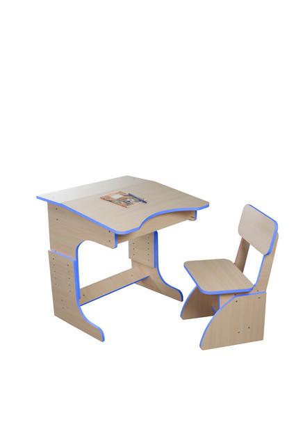Еко детская парта растущая + стульчик, синяя