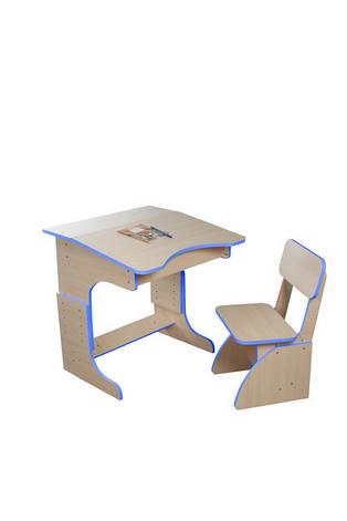 Еко детская парта растущая + стульчик, синяя, фото 2