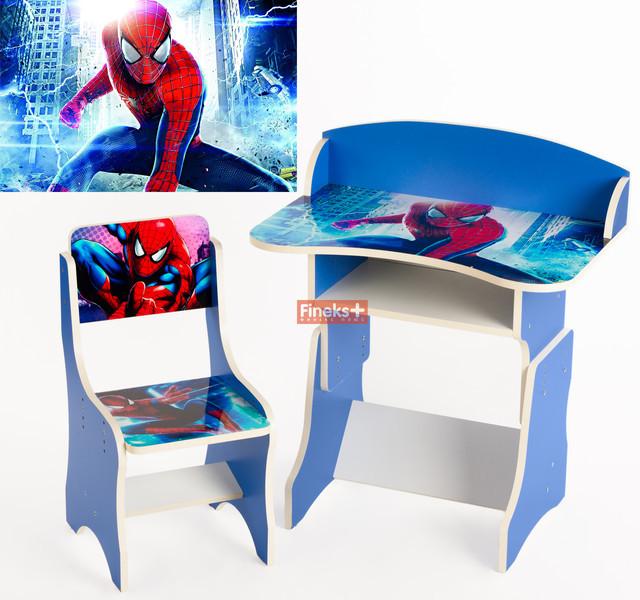 """Детская парта растущая + стульчик """"Человек - паук"""""""