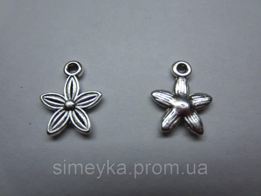 """Кулон (подвеска) """"Цветок"""" металлическая, цвет серебристый, размер 1013 мм"""