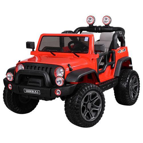 Детский электромобиль Джип Wrangler 3469 EBLR - 3 Красный, кожа, амортизаторы, двери, капот, EVA, пульт 2.4G