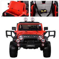 Детский электромобиль Джип Wrangler 3469 EBLR - 3 Красный, кожа, амортизаторы, двери, капот, EVA, пульт 2.4G, фото 3