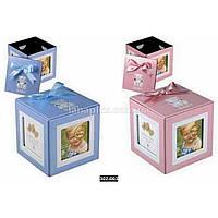 Детская фоторамка-шкатулка Кубик 10х10х10см для 4 фотографий 6х6см