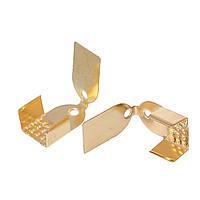 Зажим-концевик для Ожерелья, Металлический сплав, Цвет: Золотистый, 11 мм x 7 мм
