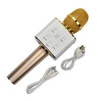 Беспроводной микрофон караоке bluetooth Q7 в чехле, gold, фото 1