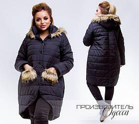 Оригинальная асимметричная женская куртка с меховыми карманами мехом на капюшоне батал, большой размер
