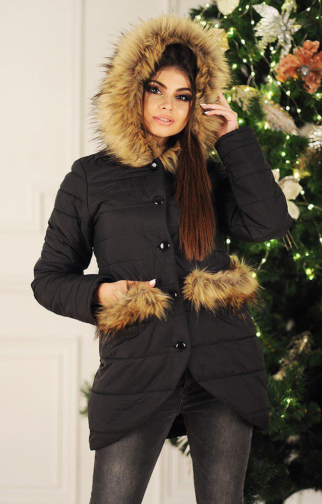 Оригінальна асиметрична жіноча куртка з хутряними кишенями хутром на капюшоні