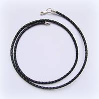 Шнурок кожаный плетеный, черный, фото 1