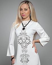 Платье туника с перфорацией белая, фото 3