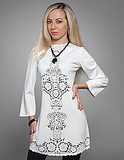 Платье туника с перфорацией белая, фото 2