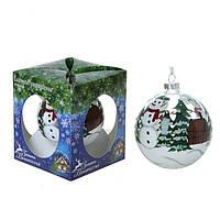 """Новогодний шар """" Снеговик в лесу """" купить украшения на елку"""