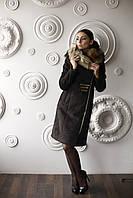 Женская дубленка средней длины модная Д-50 из искусственного дубляжа с мехом енот искусственный., фото 1
