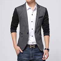 Мужской приталенный пиджак повседневный двухцветный фешн