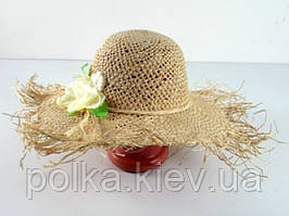 Соломенная шляпа Амазонка 45 см бежевая