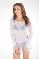 Пляжная сетка туника с длинным рукавом Amarea 649 One Size Белый