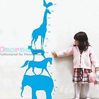 РАСПРОДАЖА! Виниловая наклейка - Ростовая линейка детская из животных