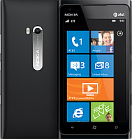 "Nokia Lumia 900, дисплей 4.3"", Windows Phone OS, камера 8 Mpx, память 16GB, GPS (A-GPS и GLONASS), 3G (HSDPA)."